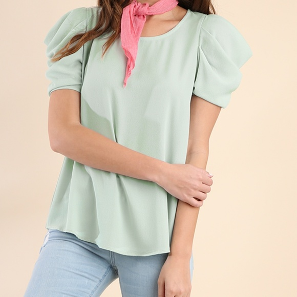 b782af96730350 Light Green Blouse Gathered Cut out Shoulder Top